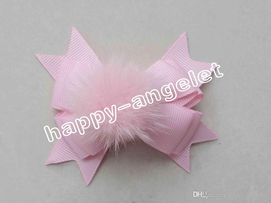 """lady girl 3.5 """" pom pom layer hair bows clips fur pompon headwear sweet pompoms hair elastic accessories Hairpins GR105"""