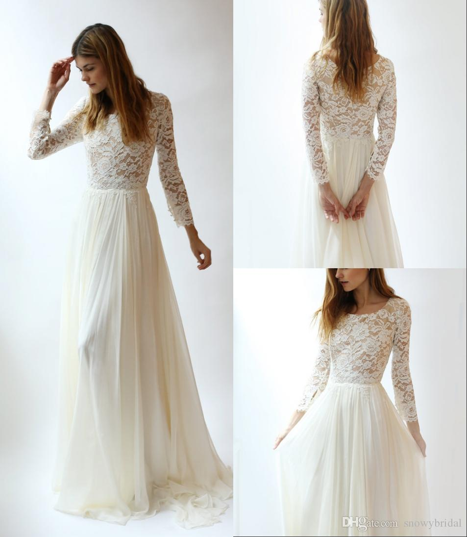 Discount Long Sleeves Lace Modest Wedding Dresses With