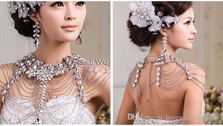Shiny Bride super luxury gorgeous upper diamond bride necklace shoulder chain wedding dress accessories exaggerated jewelry,2017