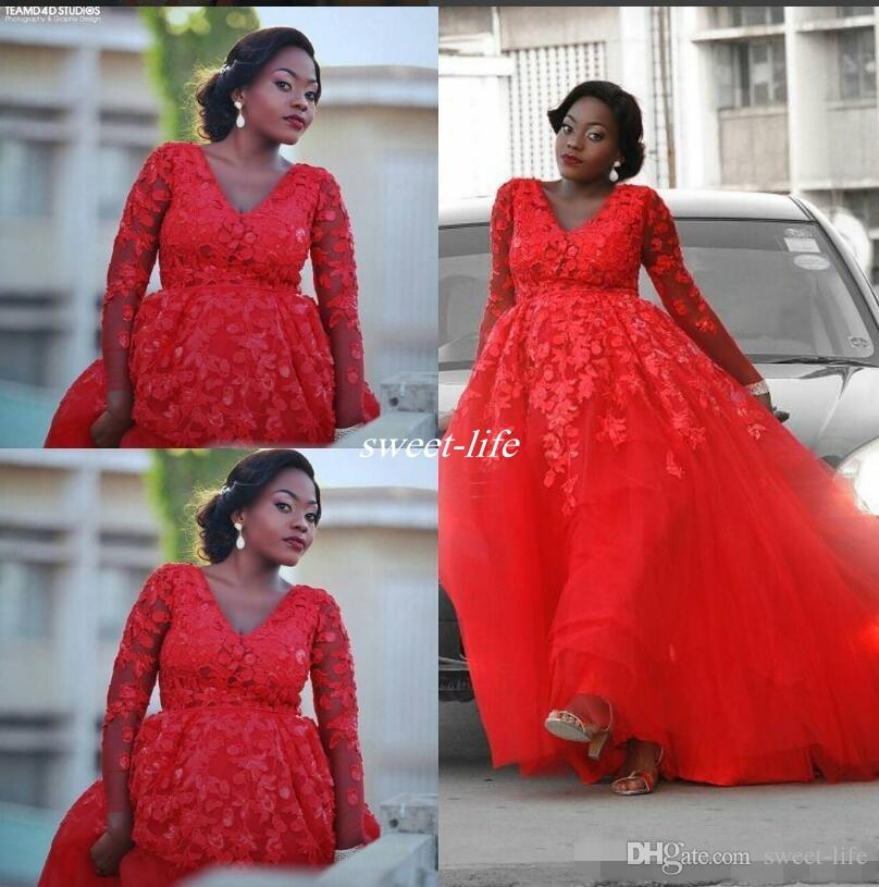 Plus Size Arabic Design Red Lace Applique Evening Dress V-neck Illusion Long Sleeves Tulle Prom Dresses Sexy Formal Party Gowns Prom Dresses