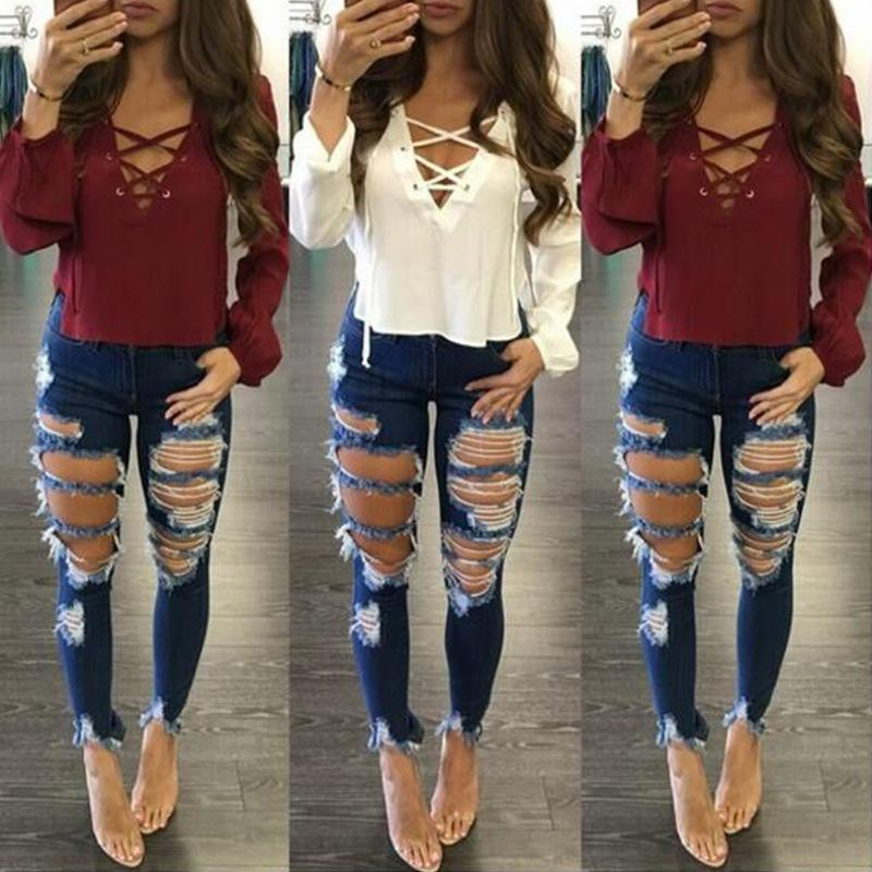 2017 Womens Ripped Cotton Denim Jeans With Hole 2017 New Blue ...