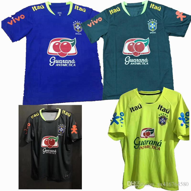 b28314e61 Compre New Sports Futebol Brasil Camisa Azul Preto Verde Treino Terno  Camisas De Futebol S 2XL De Xx416764580