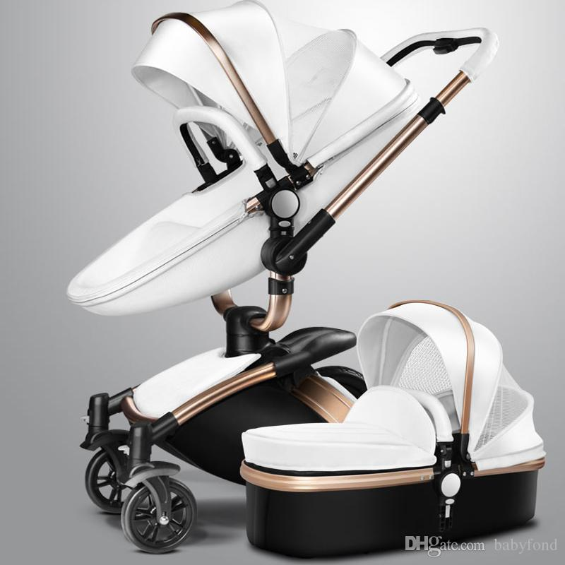 2018 Quality Leather High Seat Stroller Landscape Strollers Rotatable Swing Baby Car Shock Absorbers Child Folding Trolley From Babyfond