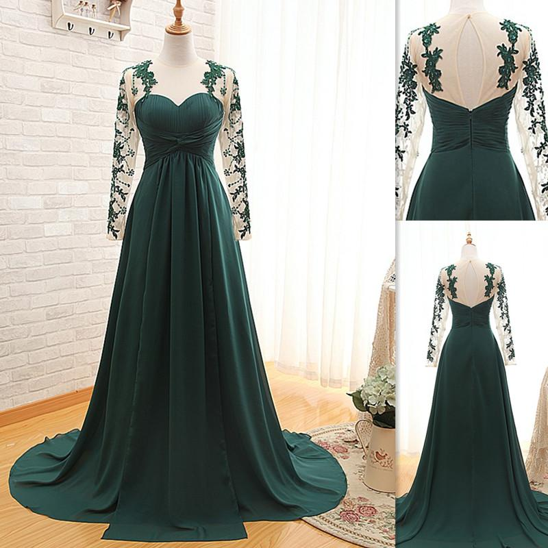 Emerald Green Prom Dresses 2018 Long Sleeves Real Photos A Line