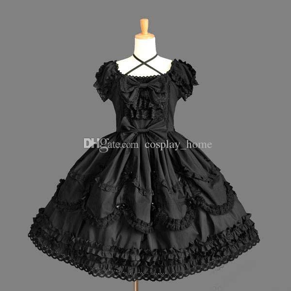 Custom 2017 Short Sleeve Palace Gothic Lolita lace Dresses Halloween Cosplay Ball Gowns