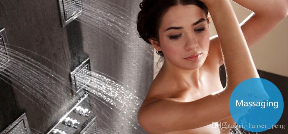 550X230mm Intelligente Luxuriöse Decke Monsoon-Dusche RegenwasserfallschalterThermostatventil mit seitlicher Massage Sprühdüsen 8007