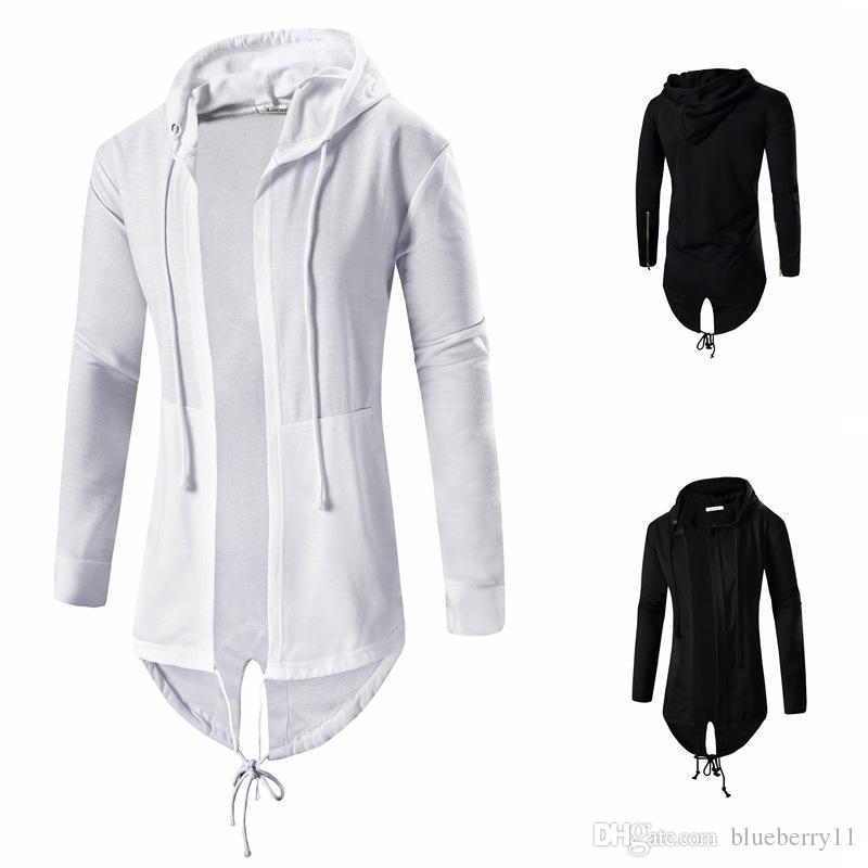 Moda Sonbahar Siyah Beyaz Pelerin Kapüşonlu Sweatshirt Hoodie Erkekler Streetwear Hip Hop Uzun Hoodies Giyim Erkek Giyim Hırka M-3XL