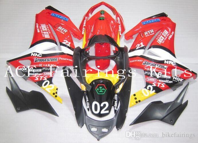 Three free beautiful gift and new high quality ABS Injection fairing plates for Kawasaki Ninja 250R 2008-2012 EX250 bodywork set red yellow