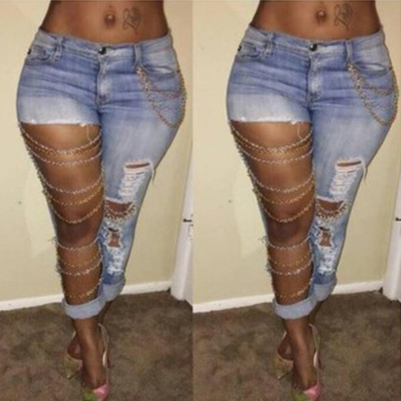 Fashion Stylish Women Jeans With Hole 2017 Beggar Jeans Ladies Night Out Clubwear Cool Denim Broken Jeans For Girl Mid Waist Casual Pant