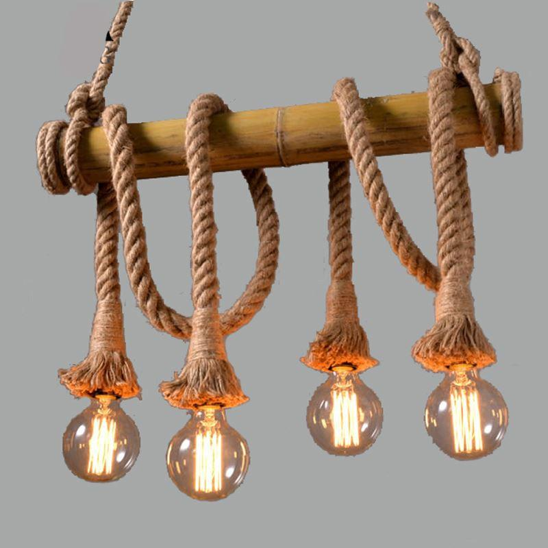 American Rural Hemp Rope Lamps E27 Vintage Industrial Lamps 90 260V Double  Head Hand Knitted Hemp Rope Light For Retaurant Pendant Lamp Led Bulb  Chandeliers ...
