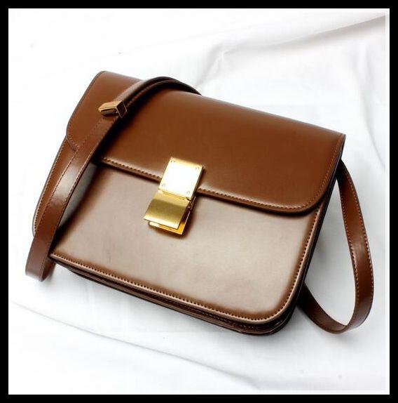 e8c9f4bcfe Ladies Classic Box Bags Tofu Bag Genuine Leather Women Vintage ...