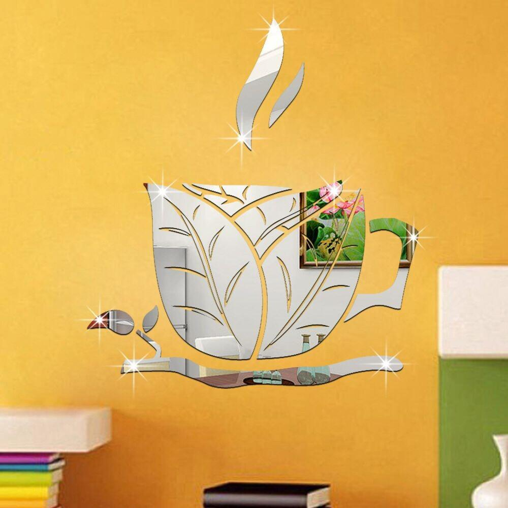 34 X 36 Cm Coffee Cup Pattern Mirror Sticker Living Room Bedroom ...