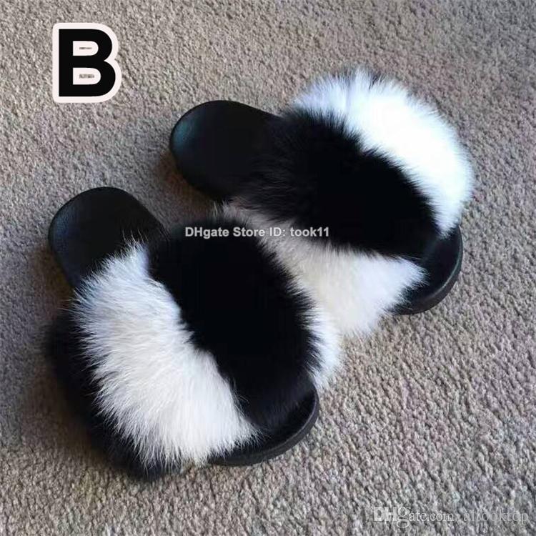 Luxury Women Fox Hair Sliders Home Furry Summer Flats Ladies Plush Fluffy Slippers Real Fox Fur Shoes Beach Sandals Racoon Raccoon color