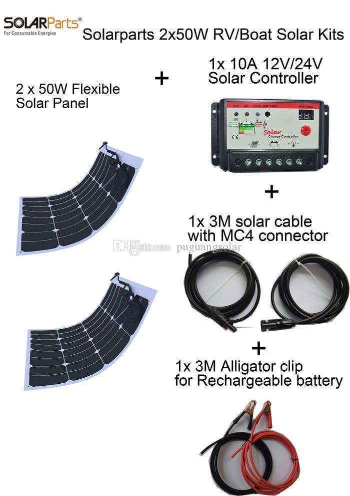 Solarparts 2PCS 50W DIY solar system flexible solar panel modules 12V battery USB charger home charging outdoor led lights