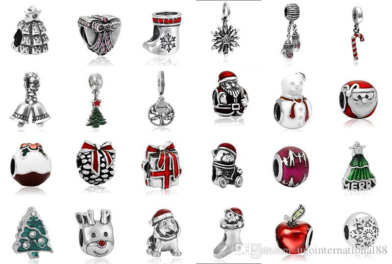 online cheap fits pandora bracelets christmas charms silver enamel charm bead loose beads for wholesale diy european sterling necklace jewelry by - Christmas Charms