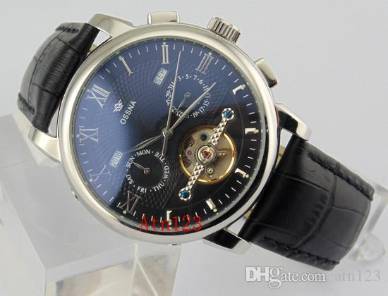 Ossna 42mm Black/White Dial Automatic Stainless Steel Case Date Day Watch 3ATM Water Resistantance Rating Wristwatch 1622/1623/1624/1625