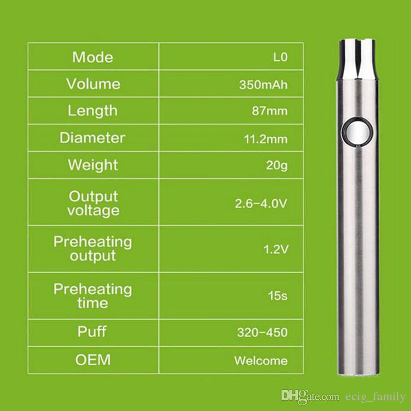 co2 oil cartridge LO preheating function variable voltage battery 510 thread 350mah rapid pre-heat battery for thick oil cartridge vape pen