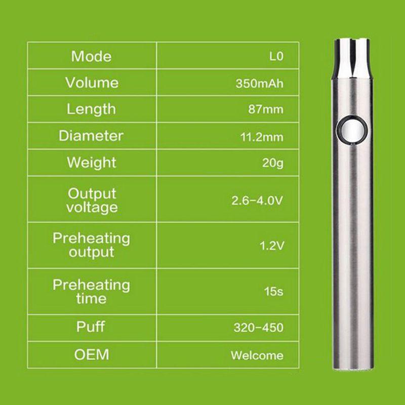 preheating battery 350mah pre-heat O pen variable voltage 4.0-3.3-2.6v preheating thick oil vaporizer battery 510 thread