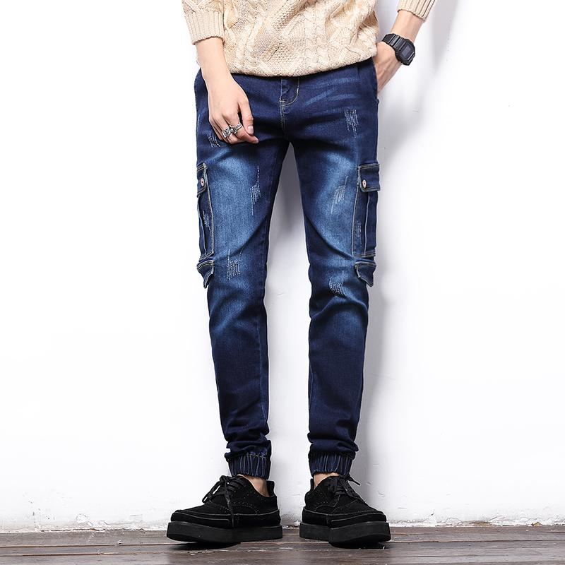 fafd9c820f0 2019 Wholesale New 2016 Fashion Mens Skinny Jeans Blue Gray Slim Denim  Cargo Pants Side Pockets Casual Overalls Men Joggers Male Biker Jeans From  Cover3127