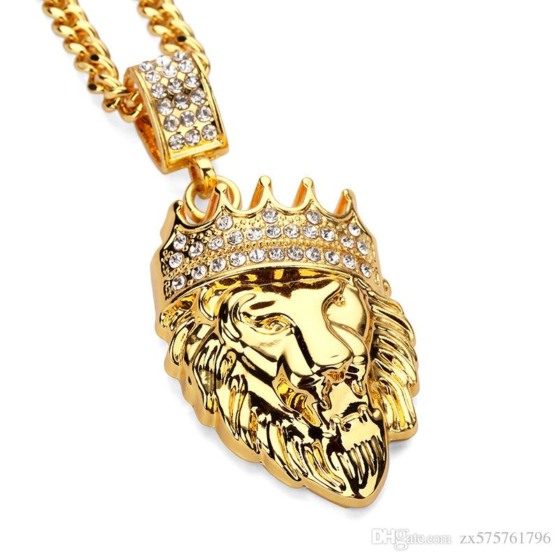 Wholesale fashion design lion head pendant necklace men punk gold wholesale fashion design lion head pendant necklace men punk gold plated jewelry filling pieces mens hip hop chain necklace sale popular pendant necklaces aloadofball Choice Image