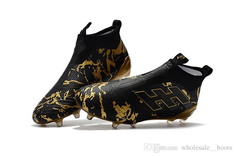 6dca3e794c9 2019 Soccer Cleats ACE 17+ PureControl FG Black Gold Messi Super Quality Soccer  Shoes From Wholesale  boots