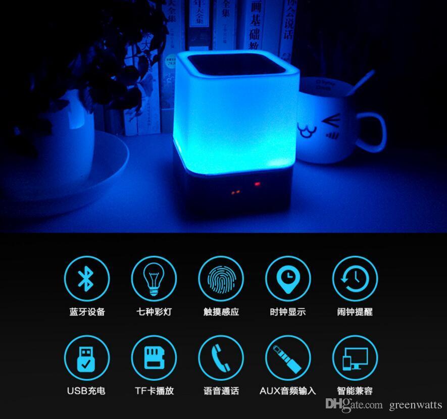 Alto-falante da luz da noite Lâmpada sem fio portátil da mesa do orador sem fio com microfone Toque inteligente LED Humor Lamp Relógio Rádio TF Cartão