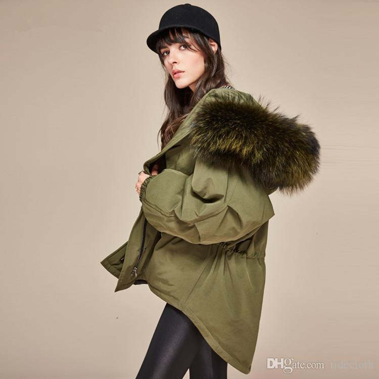 Best Women's Army Green Large Fur Collar Hooded Parkas Coat Warm Cool  RG96