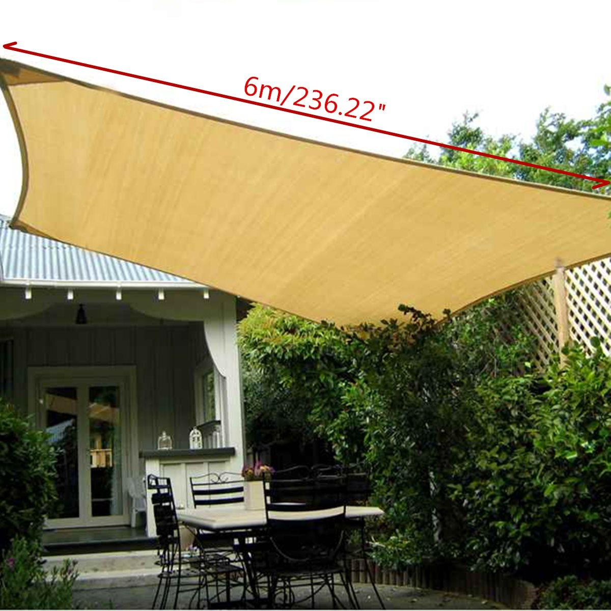 Rectangle Sun Shade 6X4m Polyester Sail Outdoor Garden UV Protection Top  Canopy Cover Patio Pool Coffee Shop Awning Tools