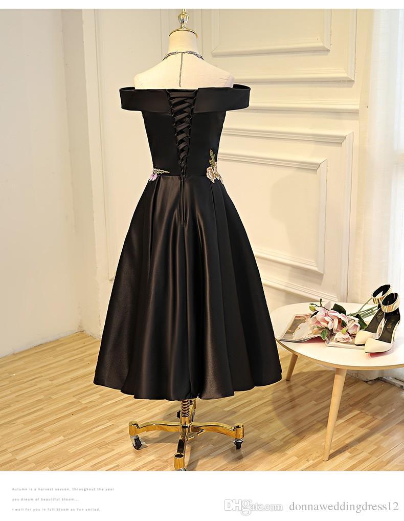 New Design Boat Neck Tea-length Evening Dresses 2017 new Appliques Stain Formal Prom Gowns Bestido de festa Black Evening Gown