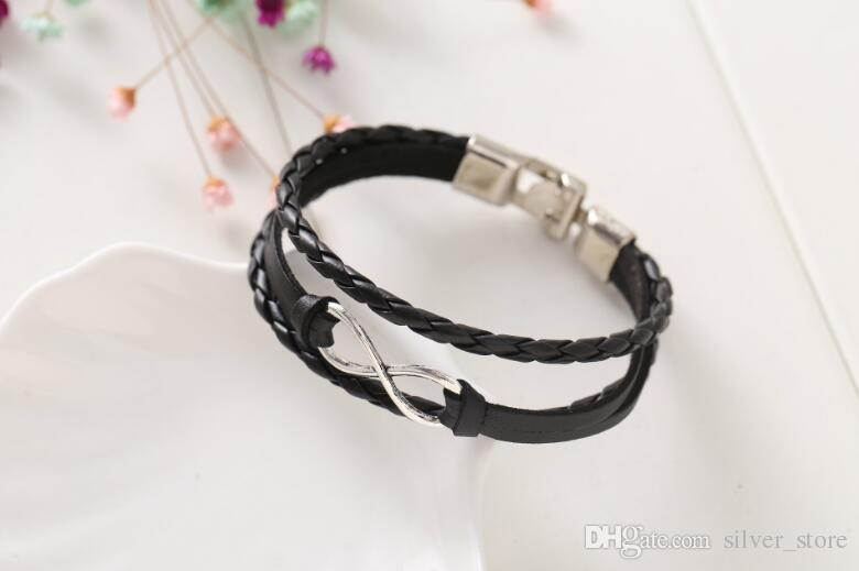 Good A++ New lucky 8-word leather bracelet bracelet leather 8-word bracelet FB547 a Link, Chain