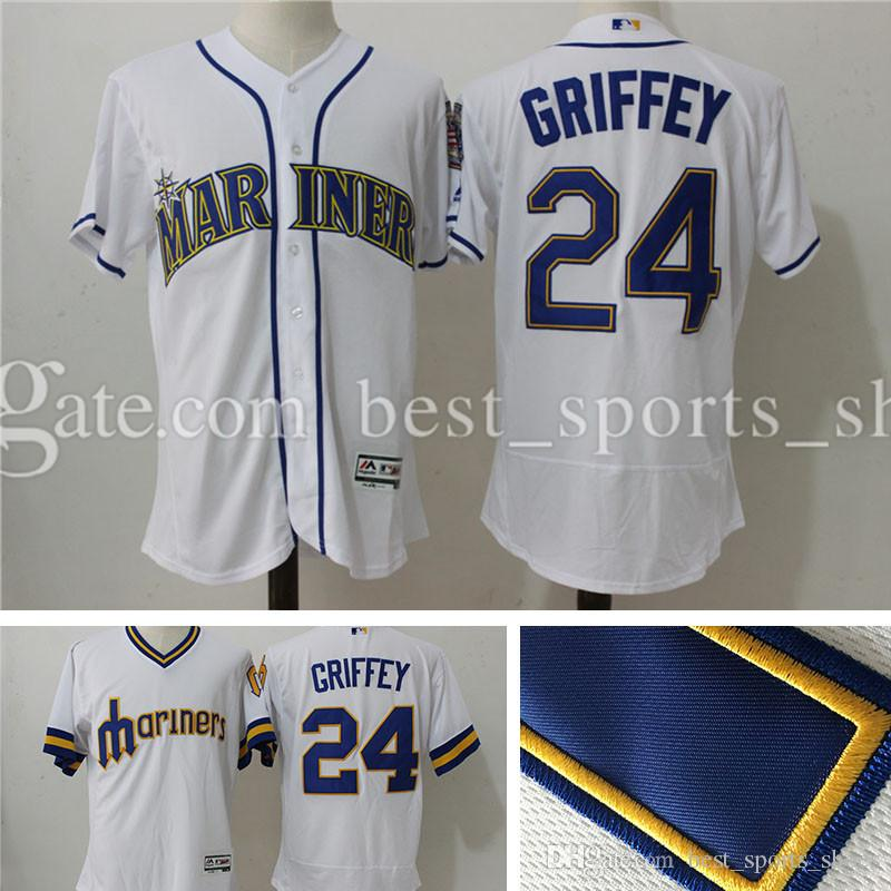 1d8eeb9c56c ... Stitched 24 Ken Griffey Jr Jerseys Mens Seattle Mariners Ken Griffey Jr  Flex Base Cream Green Mens Majestic ...