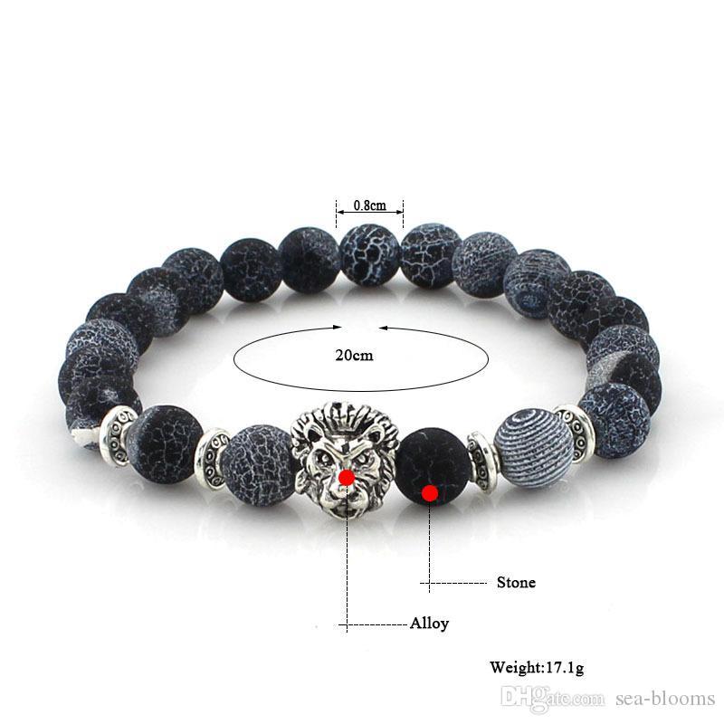 8mm Lava Stones 7 Chakra Delicate Bracelet Lion Head Aroma Bracelet Perfume Essential Oil Diffuser Bracelet Christmas Gift B349S