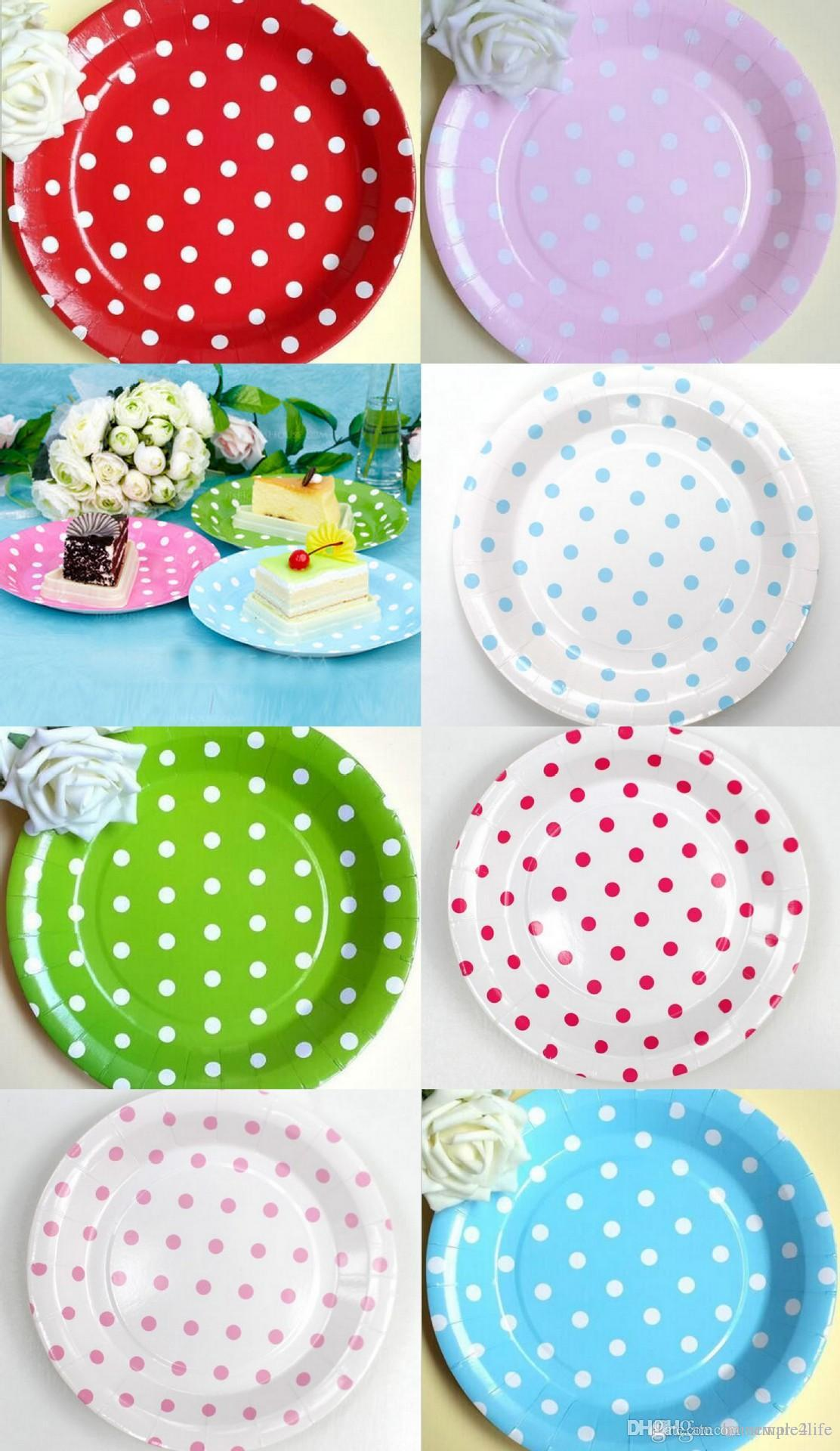 9 inch polka dot paper disposable plates for party birthday paper