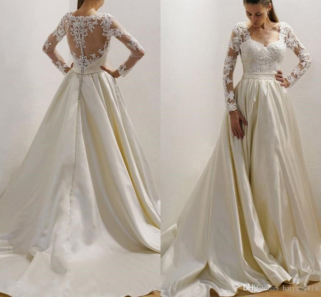 c650a4ad6e7 Discount 2018 Arabic Wedding Dresses Beach Bohemian Long Sleeves Lace  Applique Beads Sheer Back Satin Sweep Train Country Custom Formal Bridal  Gowns Bride ...
