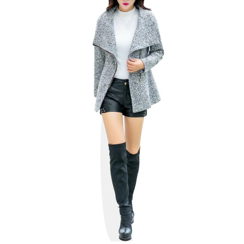 Abrigos de lana ocasionales de otoño invierno mujer abrigos con cremallera cuello redondo temperamento de moda abrigos de estilo coreano