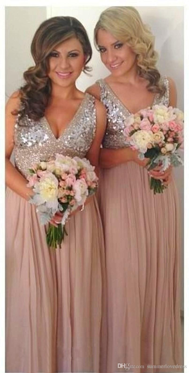 2017 New Elegant V Neck Chiffon Long Mermaid Bridesmaid Dresses Sequins Beaded Top Party Evening Dresses