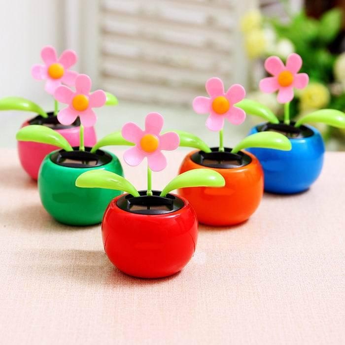 Solar Apple Flower Car Accessories Apple Bobblehead Doll Solar Car ...