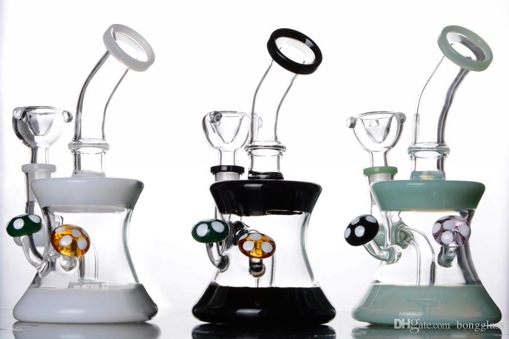 Cute colorful pyrex Mushroom death cup 14 mm joint glass water pipe bong recycler oil rigs hookah dab rig perc with bowl