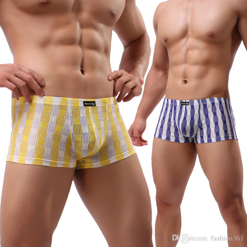 eff74edb62 2019 Male Underpants Sexy Men Mesh Breathable Perspective Boxer Transparent  Striped Silk Men Underwear Penis Pouch Arrived Shorts From Fashion361