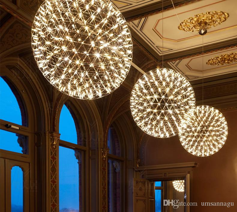 LED Modern Fireworks Pendant Lamps Ball Stars Hanging Pendant Lights Fixture Nordic Hotel Shopping Mall Cafes Pub Bar Home Indoor Lighting