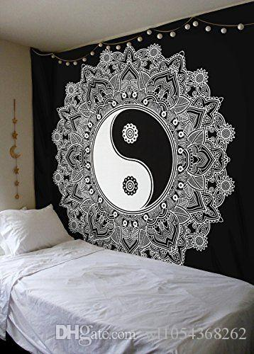 Feather Black Taiji Mandala Tapestry Fabric Wall Cloth Wall Hanging  Tapestries Sheet Sofa Cover Blanket Decoration Towel Tapestry Blanket Wall  Hanging ...