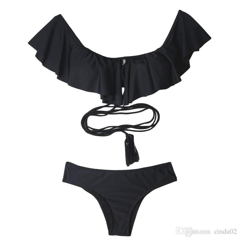 섹시한 오프 숄더 Ruffled Bandeau 끈 팬티 Biquini Strappy 수영복 수영복 수영복 수영복 여성용 브라질 비키니