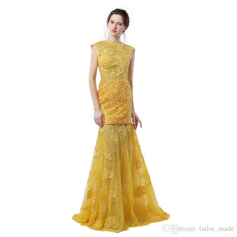 Engagement Dresses 2019 Robes De Soiree Longue Yellow Lace Mermaid Evening Dresses Sexy Backless Prom Dress