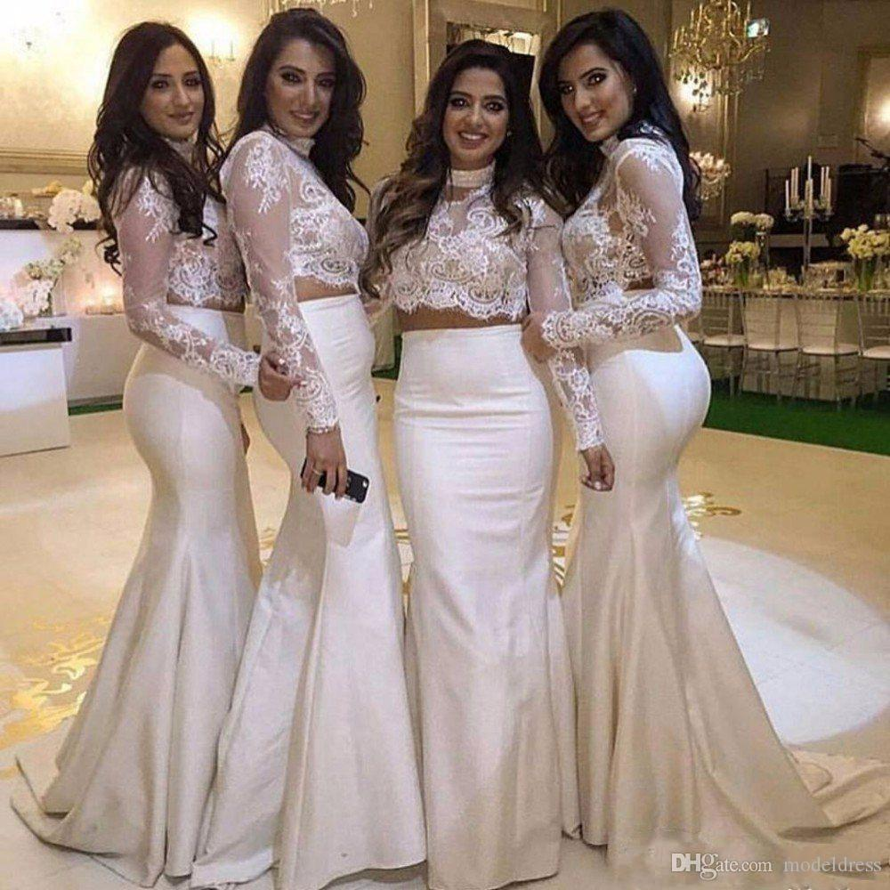 2017 New Two Pieces Lace Bridesmaid Dresses High Neck Long Sleeves Appliques Mermaid Maid Of Honor Dress For Wedding Party Prom Cheap Custom