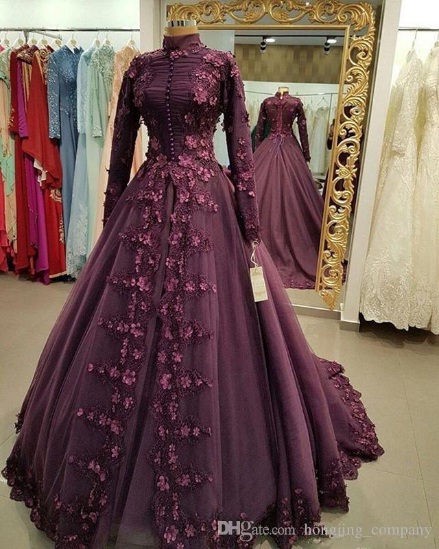 Renaissance Medieval 2017 Wedding Dresses A Line Burgundy: Muslim Prom Dresses Burgundy A Line Lace Appliques Long