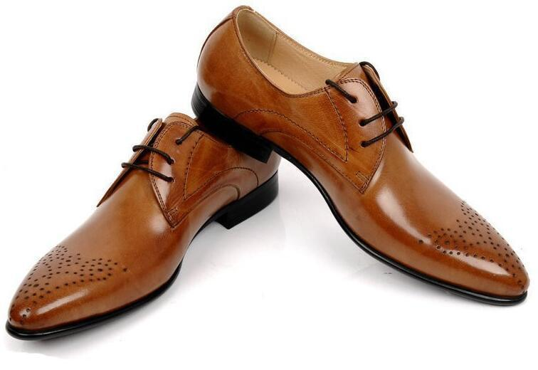 Fashion Vintage Luxury Oxfords Mens Dress Shoes Genuine Leather Carved Style Flats For Business Office Size:28-55