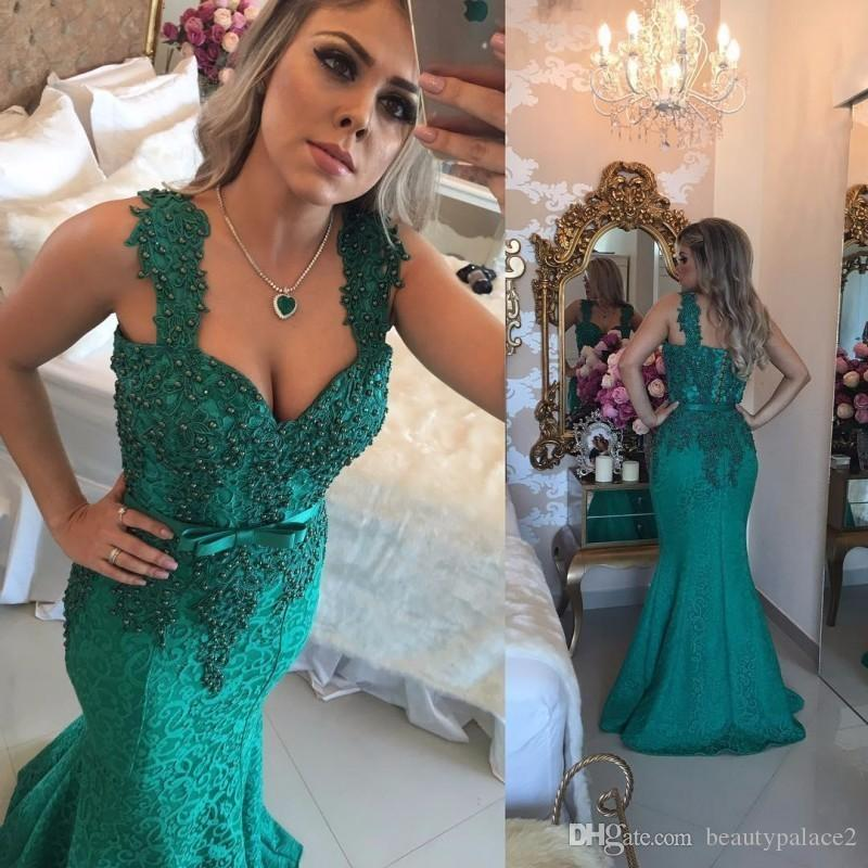 Turquoise Green Lace Long Prom Dresses 2017 Mermaid Straps Beaded Pearls Appliques Girls Formal Dress Prom Gowns Cheap Custom