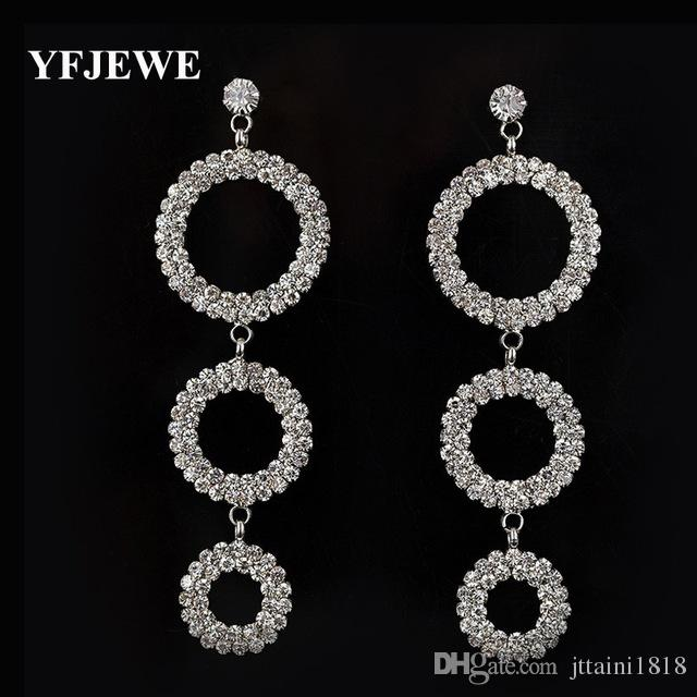 New fashion Austrian Crystal sliver Plated long Tassel Geometric shape Drop Earrings best sell for Women jewelry #E351
