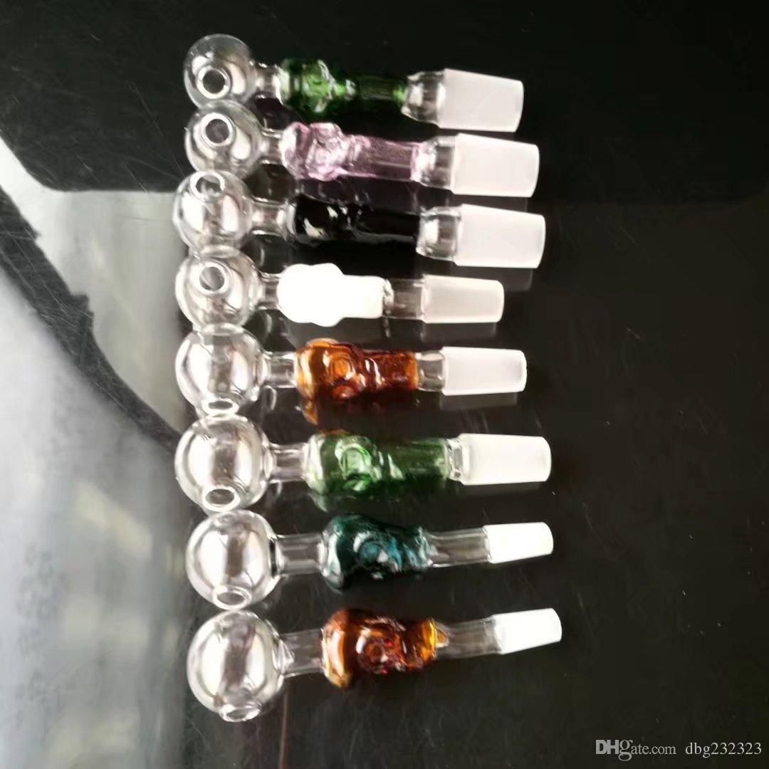 Multicolor Bone Bongs Accesorios, Tubo de agua de cristal Pipas de fumar Bongs de vidrio Percolador Quemador de aceite Tuberías de agua Plataformas petroleras Fumar con D