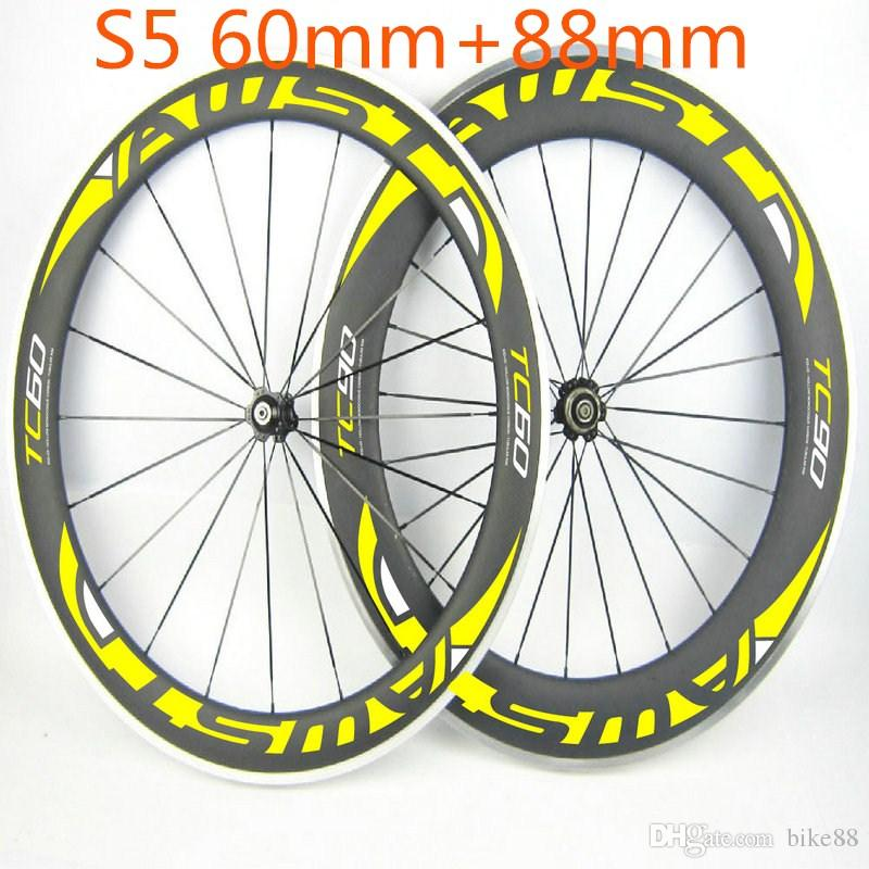 TC 60 and TC 90 AWST alloy bicycle carbon wheels front 60mm rear 88mm original carbon wheels clincher 11s shima 700C with powerway hubs
